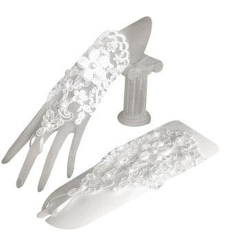 1 Pair Women Bridal Short Gloves Fingerless Embroidery Lace Floral Applique Faux Pearl Decor Mittens Cross Bandage Hook Finger Bridal Gloves