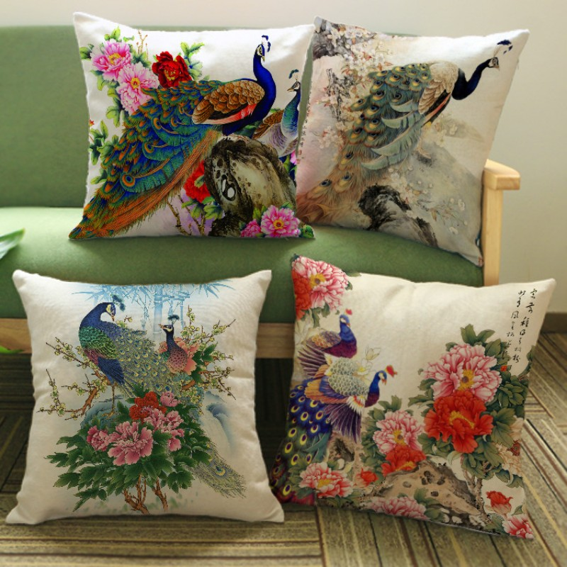 Luxury Chinese Unique Peacock Print Cushion Cover Elegant Flower Poeny Print Pattern Pillow Case Pillowcase Home Decoration
