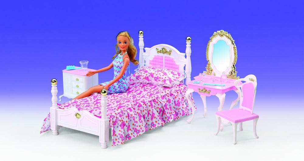 Original For Barbie Bed Table Bedroom Furniture Set 1/6 Bjd Princess Dressing Table Doll Accessories Child Toy Gift