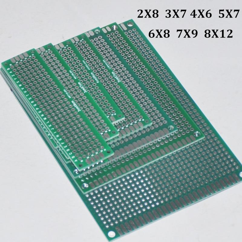 7pcs PCB Prototype Board 2.54mm 1.6mm Circuit Tinned Universal Stripboard Veroboard Double Side 2X8 3X7 4X6 5X7 6X8 7X9 8X12CM