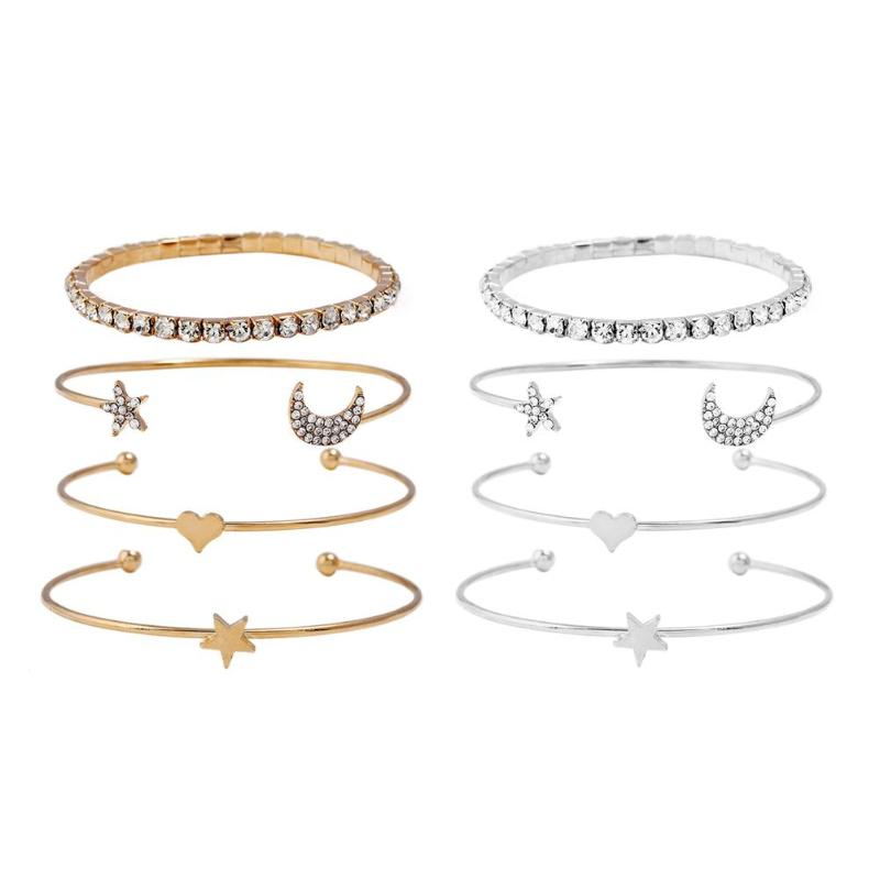 4Pcs /Set Retro Moon Star Heart Crystal Women Bangles Set Rhinestone Open Cuff Bracelets Bangles Delicate Party Jewelry Gift