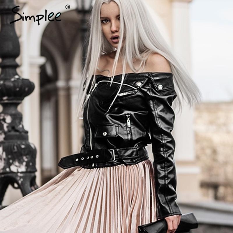 Simplee Off shoulder faux <font><b>leather</b></font> jacket women motorcycle jacket 2016 autumn winter outerwear coats Short zipper basic jackets