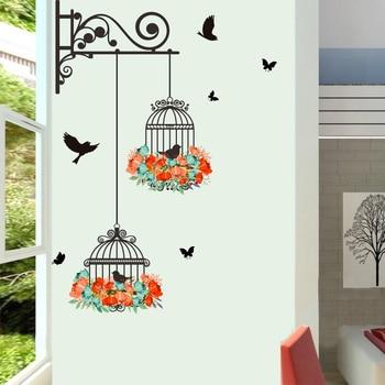Colorful Flower birdcage flying birds wall sticker Creative home decor living room Decals wallpaper bedroom nursery window - discount item  23% OFF Home Decor