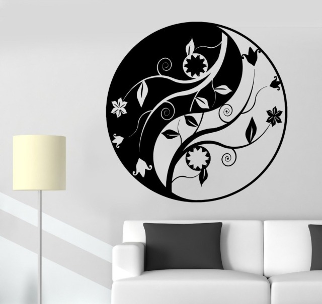 Mandala Wall Sticker Decal accueil bouddha Yin Yang Floral Yoga méditation  vinyle Decal Wall Art Mural