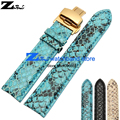 Grão de pele de cobra genuína pulseira de couro 20mm correia do relógio faixa de relógio pulseira de couro de pulso butterfly clasp