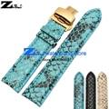 Snakeskin grain Genuine leather watchband 20mm watch belt strap wristwatches band watch leather bracelet Butterfly clasp