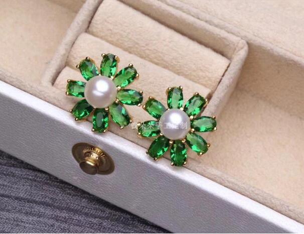 Bijoux parfaits 7-8 MM boucles d'oreilles en cristal de perle d'eau douce blanche 925 en argent Sterling
