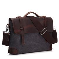 Men Briefcase Handbag Genuine Leather And Canvas Patchwork Men's Messenger   Bag   Vintage Brand Male Shoulder Laptop   Bag   Travel   Bag