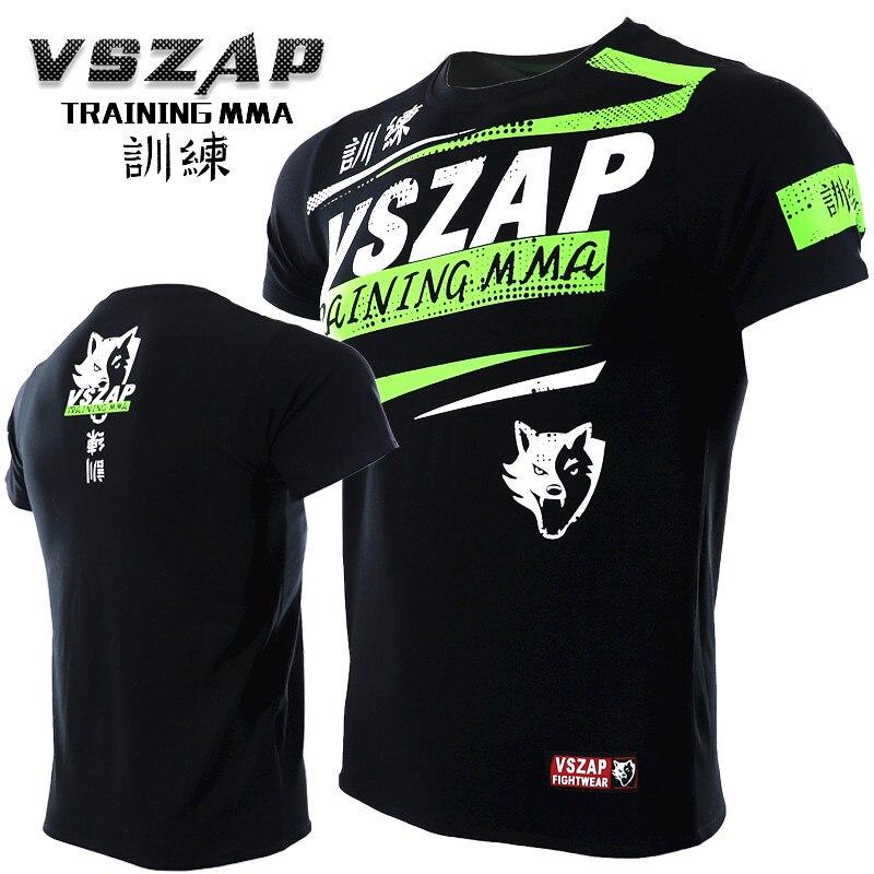 VSZAP Breathable MMA Training Shirt Muay Thai Fighter Fitness Sports T-Shirt Kickboxing Black Boxing BJJ Shirts