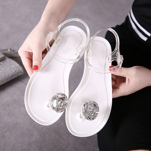 Image 5 - Ms. Summer Transparent  Sandals Rhinestone Flowers sandal Flat with Flip Crystal women slipper Beach Shoes Womens Shoes Simple