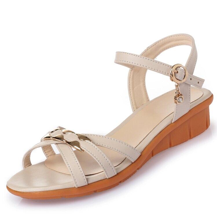 Jupe Plat Beige Cuir Sandales Mère Fond Taille 3543 noir marron Mou bleu Femmes S Chaussures Grande D'été En De nwvN8m0