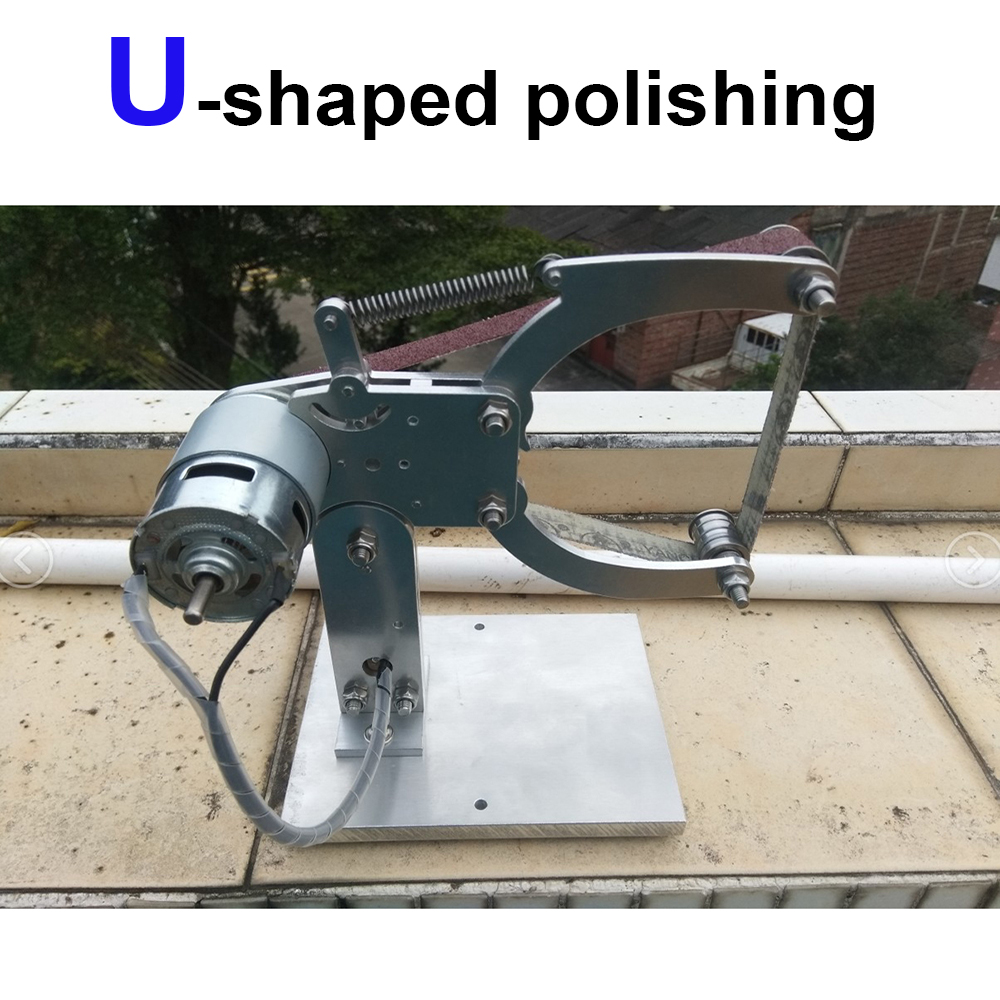 U shape Polishing Mini Abrasive Belt machine work sharp DIY slingshot Knife handle Woodworking metal polishing 775 795 motor