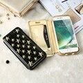 Floveme leather case para iphone 7 7 plus 6 6 s estrella remache magnética soporte flip case para iphone 6 6 s plus 7 plus cover + card ranura