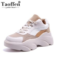 цены на Taoffen New Women Sneakers Casual Mixed Color Lace Up Wedges Platform Vulcanized Shoes Women Vacation Hiking Shoes Size 35-40  в интернет-магазинах
