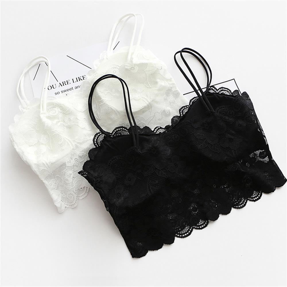 Hot Sexy Bra Lace Top Camisole Bralette For Women Sexy Lingerie Underwear Wireless Padded Seamless Bra Ultra Strap Padded Bras
