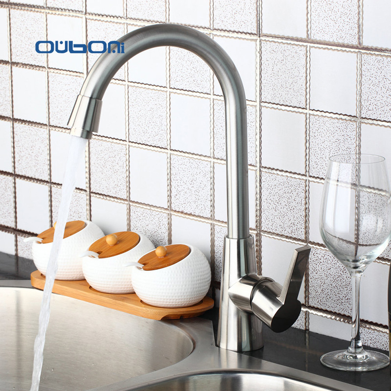 FBA Soild  Brass Kitchen Faucet Brushed Nickle  Finish,Water Tap Kitchen Swivel Spout Vanity Sink Mixer Tap Single Handle 97196 golden brass kitchen faucet dual handles vessel sink mixer tap swivel spout w pure water tap