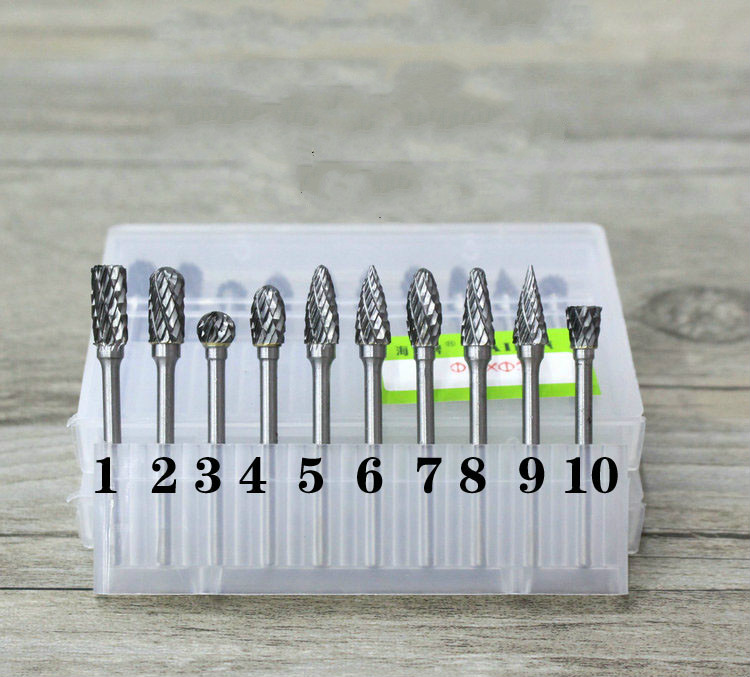Steel tungsten carbide grinding head rotary grinders, milling cutter 3*6mm file carving wood 6pcs lot carbide rotary file carbide burrs tungsten steel grinding head wood carving tools mini drill 6mm shank polish grind