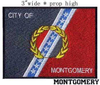 Montgomery, Alabama USA Flag embroidery 3 wide shipping /a line star/peace branches/capital iron image