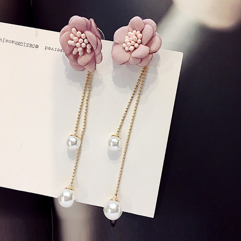 FYUAN Fashion Lady Long Tassel Earrings Bohemia Cloth Pink Flower Pearl Drop Dangle Earrings for Women Wedding Party Jewelry