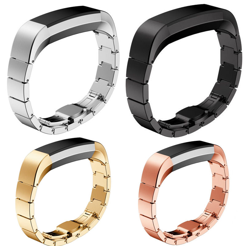Alta qulity luxo borboleta fivela de pulso relógios cinta aço inoxidável pulseiras relógio para fitbit alta relógio inteligente acessórios bandas
