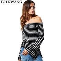 Spring T Shirt Women Casual Black White Striped T Shirt For Women Flare Sleeve Sexy Slash