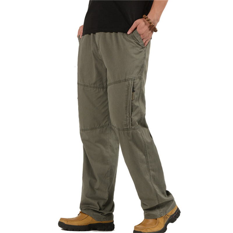 Plus Size New Men Cargo Pants Casual Cotton Straight Multi-Pocket Overalls Loose Trousers Baggy Army Military Tactical Pants 6XL mens casual blue jeans denim multi pocket loose outdoor straight legs cargo pants