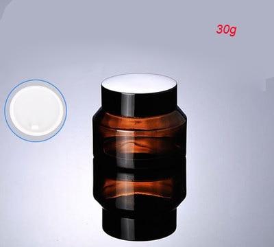 4677f464 30G brązowego szkła śmietany słoik z czarną pokrywą, szkło 30g krem ...