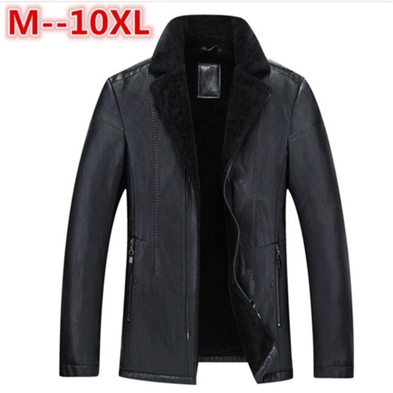 Большие размеры зимние мужские натуральная кожа пальто из свиной кожи пилот Куртки из искусственной овечьей шерсти мотоцикла Куртки манто