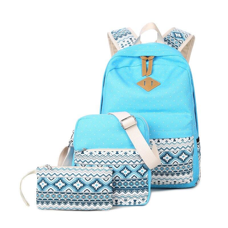 Brand New School Bag Female Three Set Canvas Backpack Dot Backpacks For Teenagers Girls Travel Bags Mochila Feminina