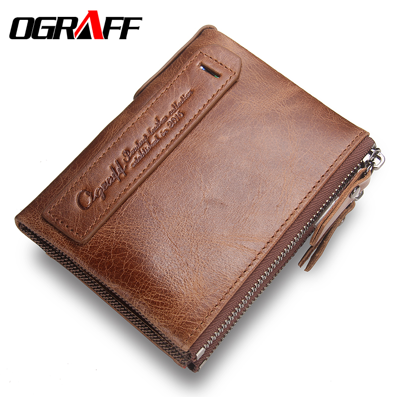 OGRAFF Purse Genuine Leather Men Wallets Clutch Male Clamp For Money Men Clutch Bags Coin Card Holder For Men Handy Wallet Perse