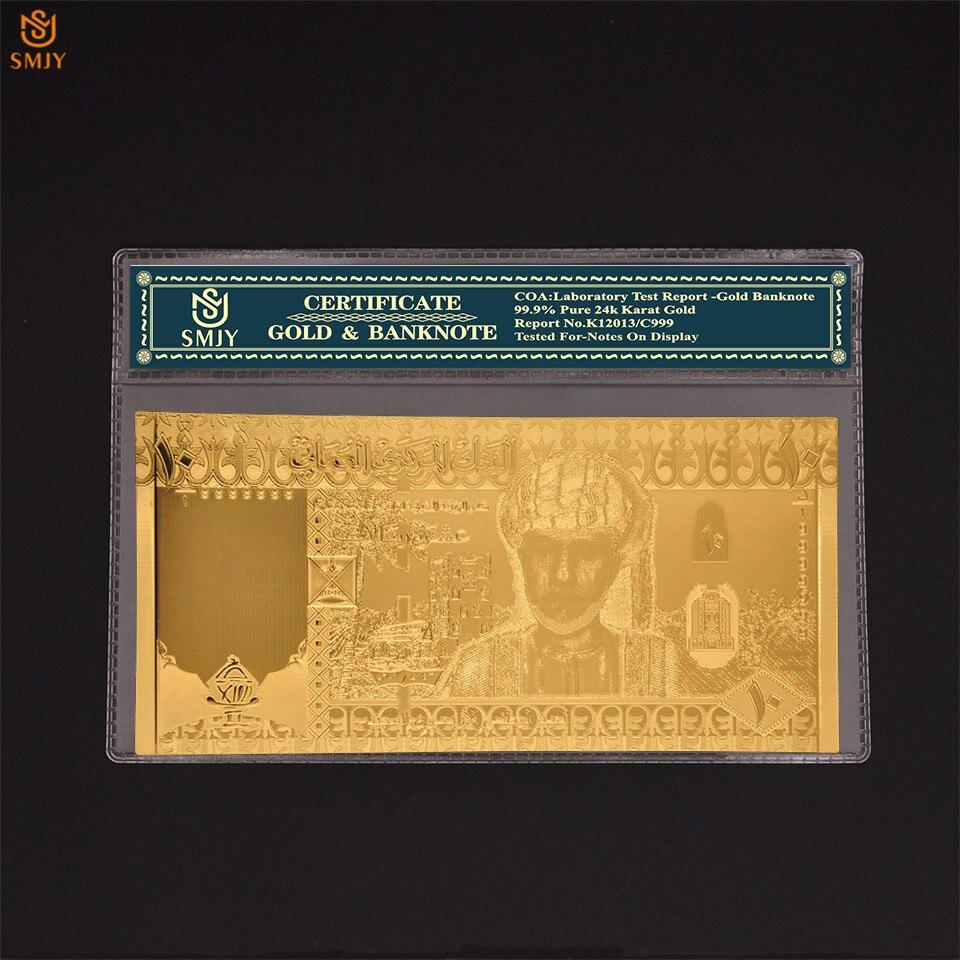 Новый Сувенир 50 Omani Rial 24k 999 Золотая коллекция банкнот Оман копия валюта подарок