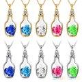 Korean Women's Crystal Love Heart Drift Bottle Pendant Necklace 1OT9
