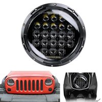 New 5D 7inch LED Headlights Kit 75W H4 Hi Low Auto Headlight With DRL For Jeep