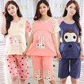 Verão de Algodão Bonito Dos Desenhos Animados padrão de Maternidade Roupas 2 pcs Set (T-Camisas + Calças) Invisível Boca Amamentação Roupas de grávida