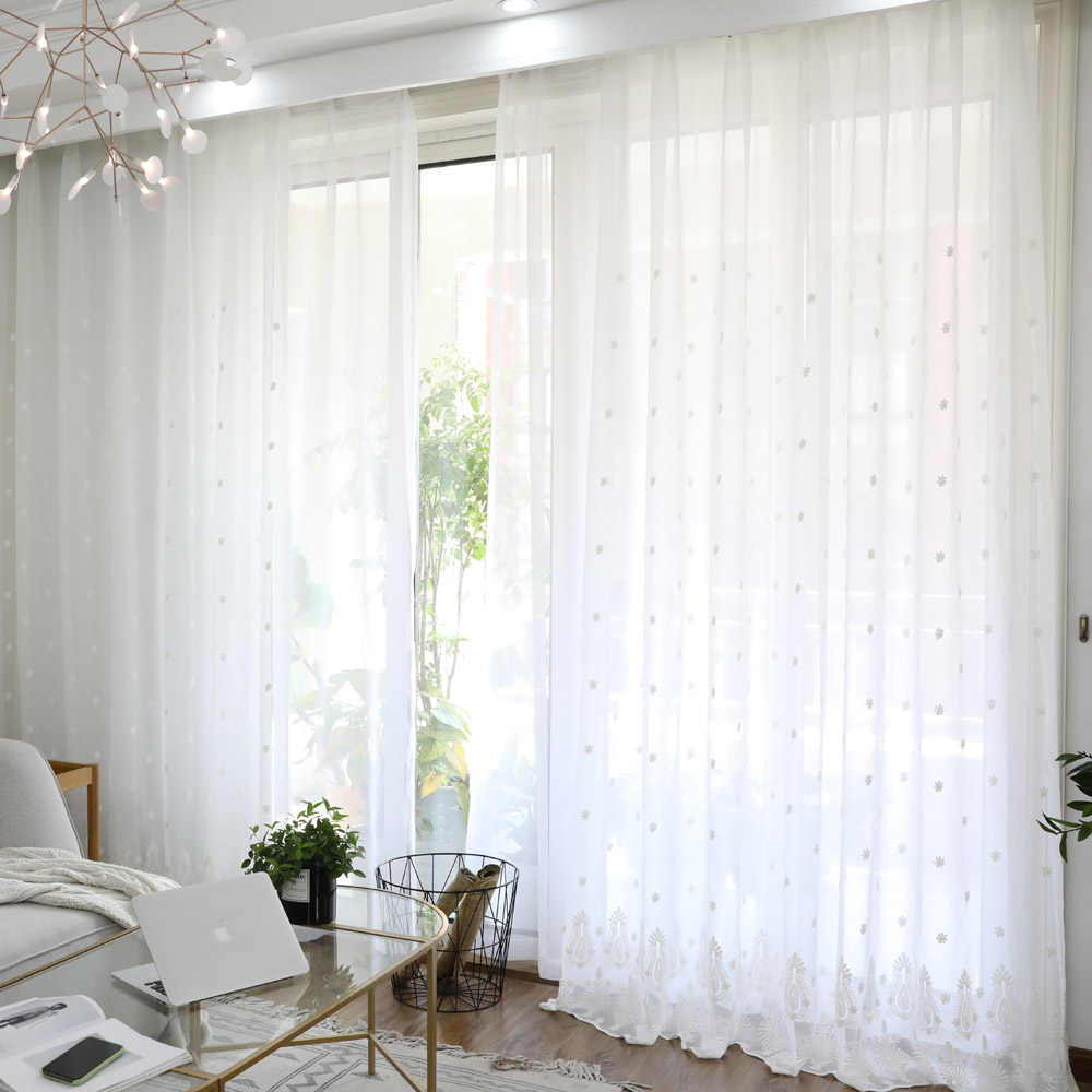 Luxury Curtains Suzhou Craft Embroidery Geometric Curtains Living Room Kitchen Curtains White Screens WP279#30