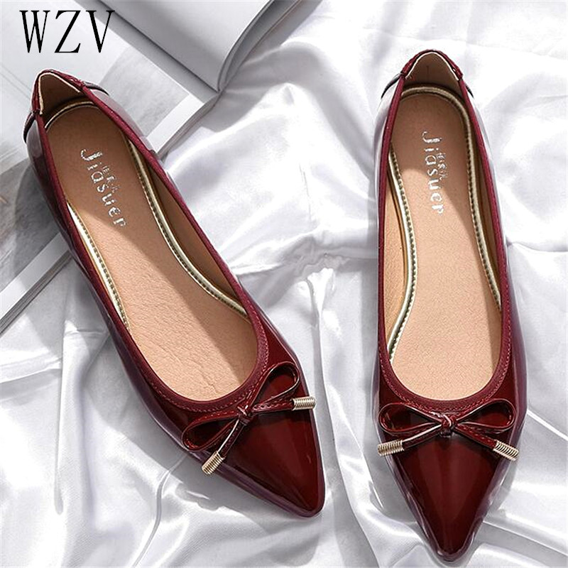 Large Size 41 Spring Autumn New Women Shoes Fashion Pointed Toe Butterfly Knot Flat Shoes High Quality Shoes Woman  H341Large Size 41 Spring Autumn New Women Shoes Fashion Pointed Toe Butterfly Knot Flat Shoes High Quality Shoes Woman  H341