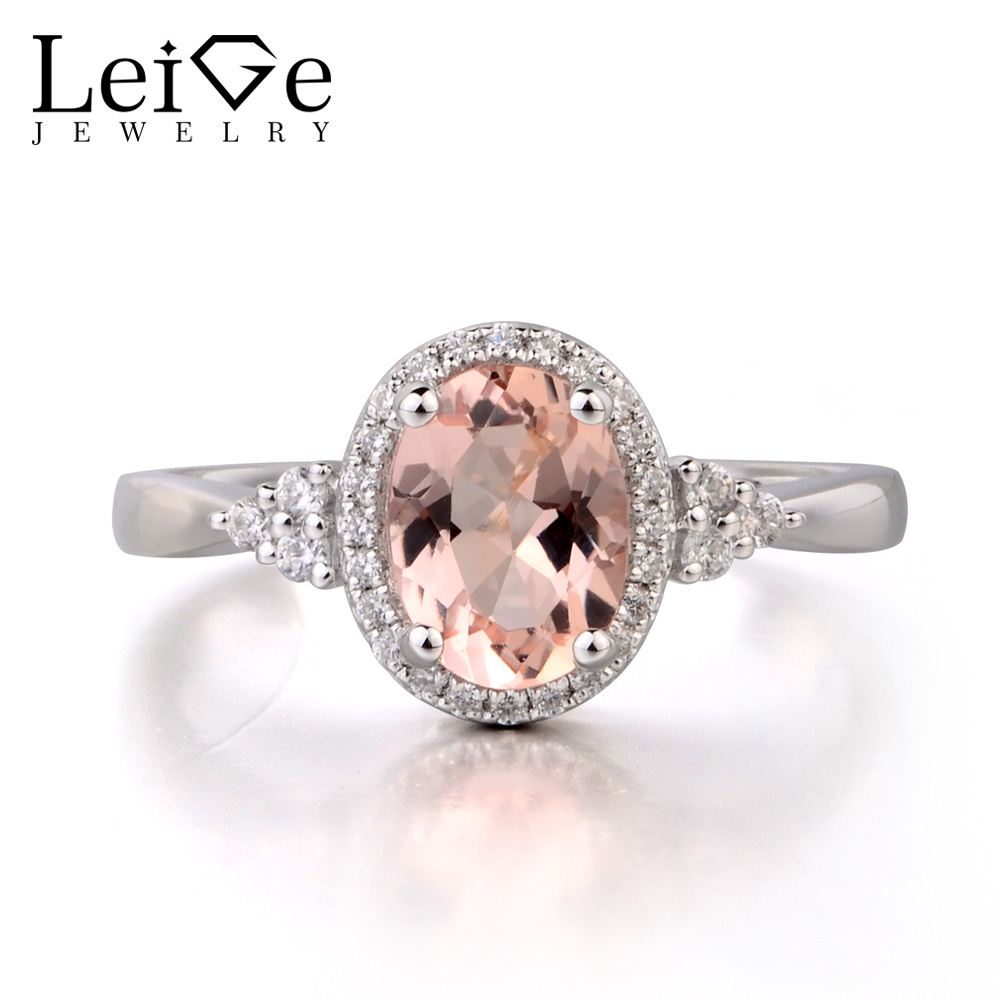 Leige Jewelry Natural Morganite 925 Sterling Silver Ring Fine Pink Gemstone Oval Cut Engagement Wedding Ring Gifts For Her