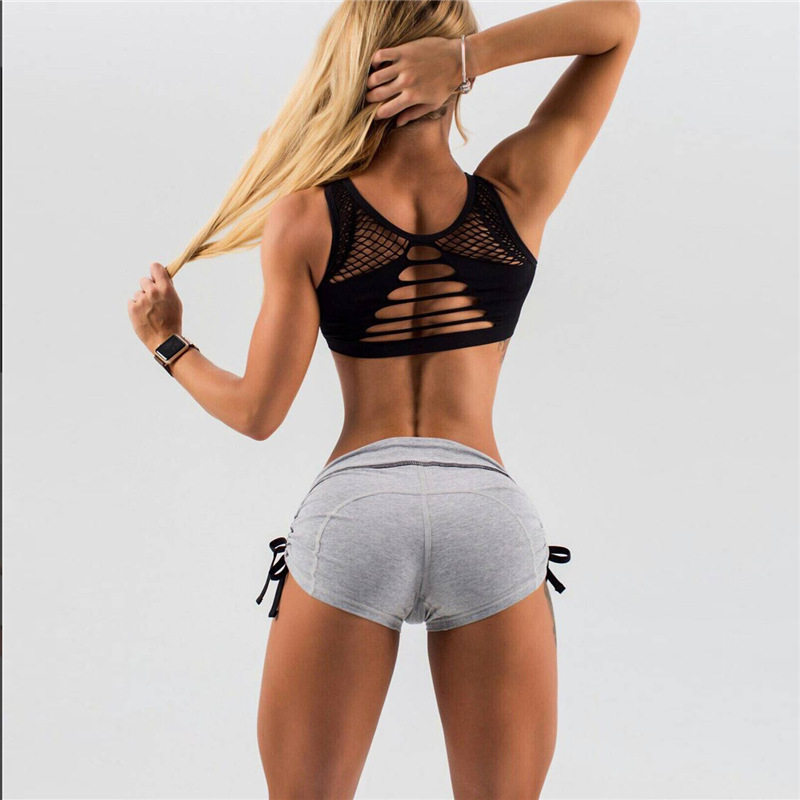 Women Yoga Sports Shorts Sexy Low Waisted Drawstring