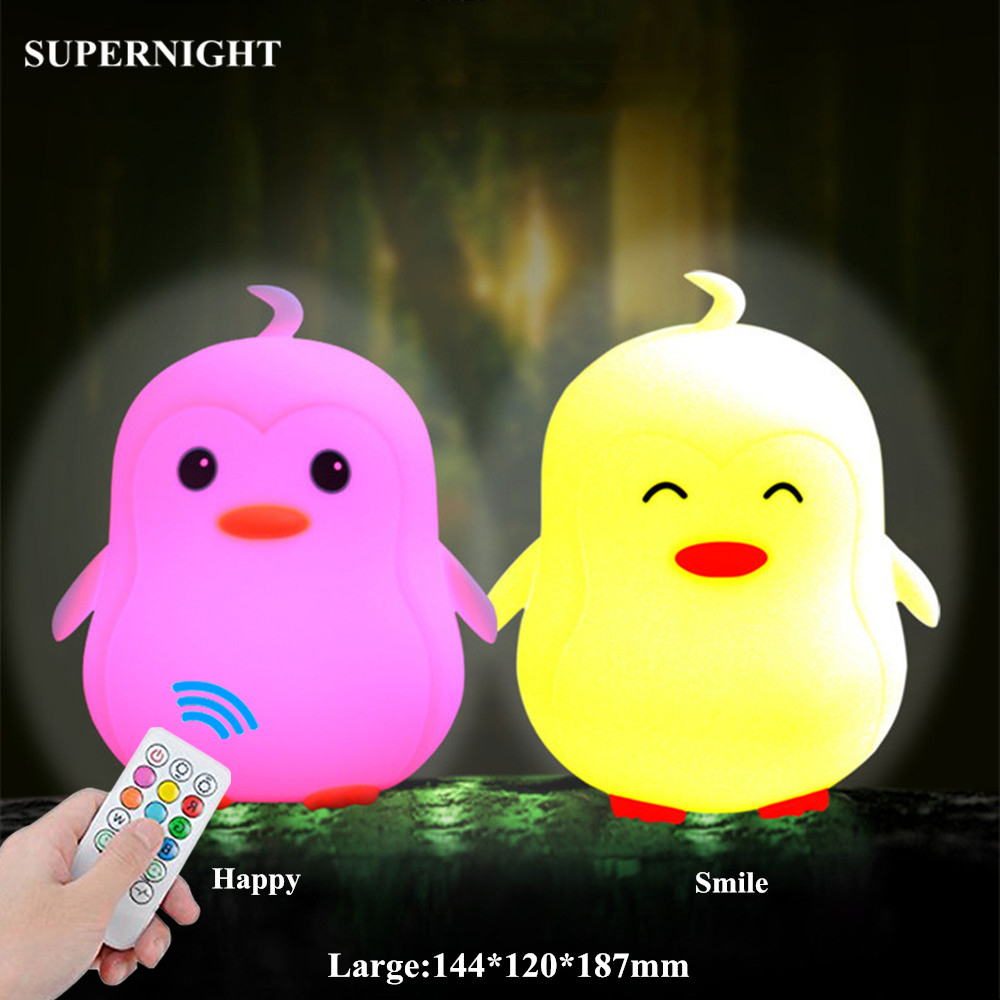 SuperNight Cute Cartoon Penguin LED Night Light Battery Power Silicone Multi-Color Bedroom Bedside Table Lamp for Kids Baby Gift (3)_