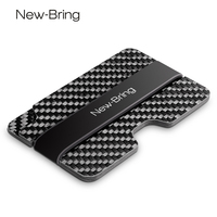 NewBring Compact Carbon Fiber Mini Money Clip Fashion Black Credit Card ID Holder With RFID Anti