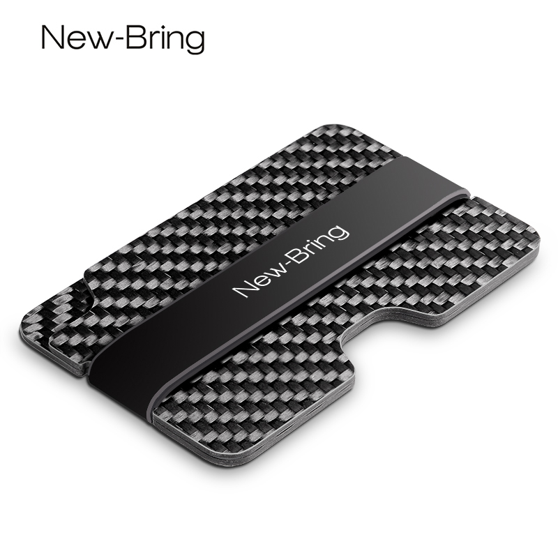 NewBring 100% Real Compact Carbon Fiber Mini Money <font><b>Clip</b></font> Fashion Black Credit Card ID Holder With RFID Anti-chief Card Wallet