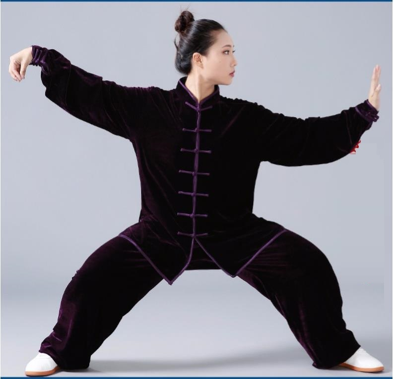 Women Men Tai Chi Suit Top Shirt Velvet Thick Long-sleeved Pants Taiji Clothing Practice  Martial Art Tai Ji Quan