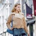 Veri Gude Women Winter Jacket Faux Fleece Short Coat Asymmetric Zipper Front Street Wear Motorcycle Style