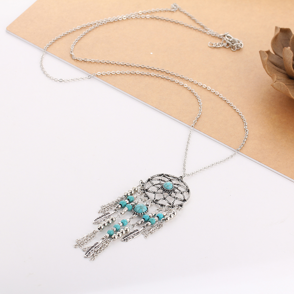 Bohemia femmes Silver Wing Turquoise Charme Pendentif Statement Collar Collier