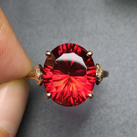 Fine Jewelry Real 18K Rose Gold AU750 Customized Size Natural red Topaz Gemstone Diamonds Female Anniversary Gift Fine Rings