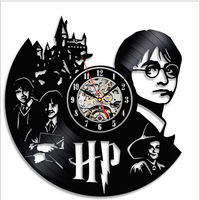 Harry Potter Theme Art CD Record Clock Vinyl Record Creative And Antique Style Wall Hanging Clock