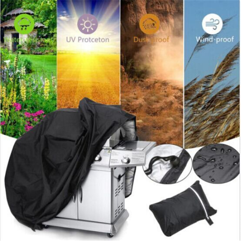 Black Waterproof Barbeque BBQ Grill Cover Outdoor Grill Anti Dust Bag For Gas Charcoal Electric Barbecue Tools Accessories Cover