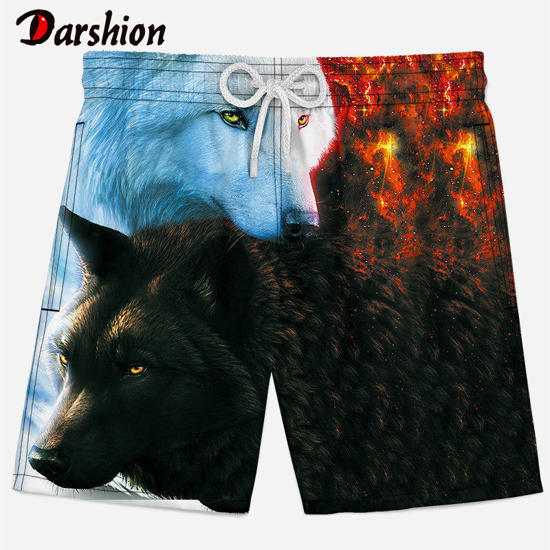 3D Men Casual   Shorts   2019 Summer Animal Print Men Beach   Shorts   Loose bird/elk/Wolf pattern   shorts   men Milk silk   Short   Man XS/4XL