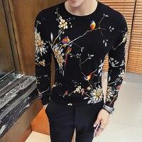Fancy Sweater 2018 Flower Pullover Sweater Men Korean Men Fashion Clothing Long Sleeve Knit Sweater Trui Heren Male Sweater