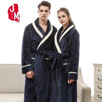 2018 Couple Winter Robe Female Set Red Floor length Flannel Long Sleeve Bathrobe Suit Warm Solid Thick Robes Women Sleep XL XXXL